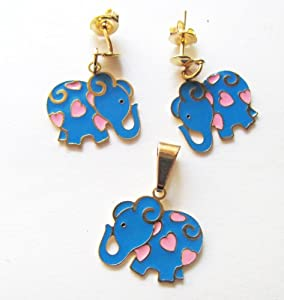 Gold Overlay Blue Elephant with Pink Hearts Set of Pendant and Earrings Children Jewelry