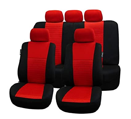 Trendy Elegance Car Seat Covers, Airbag compatible and Split Bench, Red / Black color