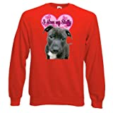 Staffordshire Bull Terrier Sweatshirt, I Love my Staffy, Red, size Medium
