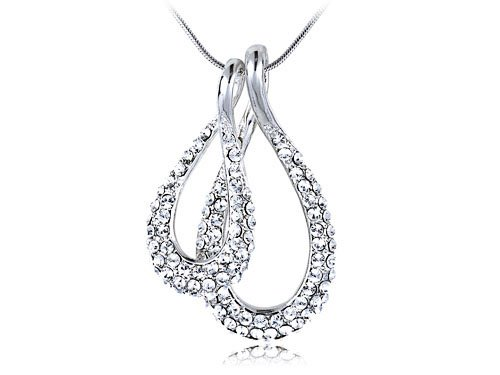 Silver-Tone Swarovski Crystal Elements Two Teardrop Fashion Necklace Pendant