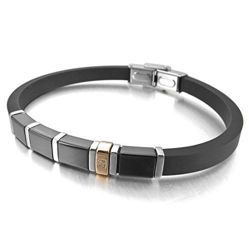Men'S Stainless Steel Rubber Bracelet Bangle Cz Black Silver Rose Gold Biker Elegant Polished