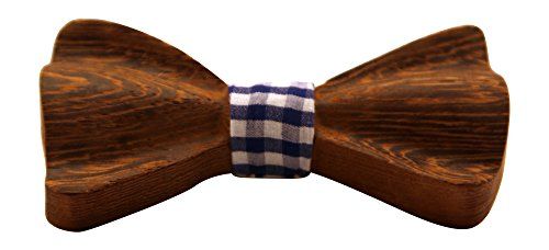 Men's Classic Wooden Bow Tie, Handmade from Natural African Wenge Wood, Blue Checkered Fabric Centerpiece, Thick and Curved Dark Wood Style -