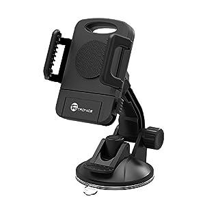 Soporte Universal TaoTronics con ventosa Giro 360 Grados Para Teléfonos Móviles, Soporte y Montaje Parabrisas/Salpicadero de Coche, Color Negro