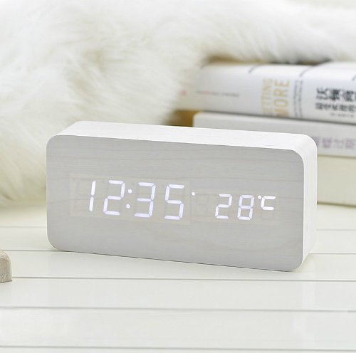Kabb White Wooden Grain Design White Light Decorative Desktop Alarm Clock With Time And Temperature Display - Sound Control - Latest Generation (Usb/4Xaaa)
