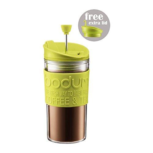 Bodum Travel Press Set - Coffee Maker With Extra Lid 0.35L (12Oz) Lime Green