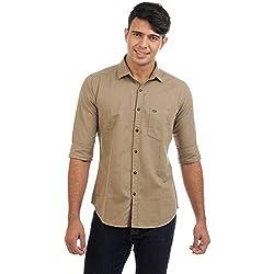 Sting Khaki Solid Slim Fit Cotton Casual Shirt