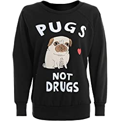 Womens Pugs Not Drugs Jumper Sweater from Mary Jane Fashion