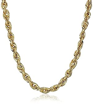 Men's 10k Yellow Gold 3mm Hollow Rope Chain Necklace, 30