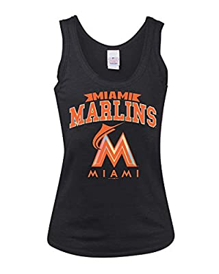 MLB Miami Marlins Ladies Tank with Raw Neck and Armholes