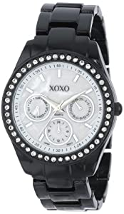 XOXO Women's XO115 Black Enamel and Rhinestone Accent Bracelet Watch