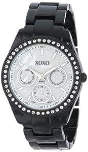 XOXO Women's XO115 Black Enamel and Rhinestone Accent Bracelet Watch