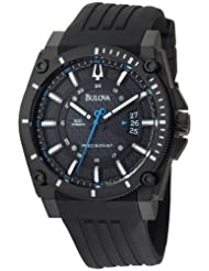 Bulova Men's 98B142 Precisionist Champlain Black Dial Rubber Strap Watch
