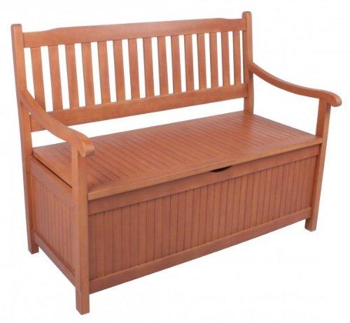 Gartenbank mit Staufach 2-Sitzer Eukalyptus FSC Holz, geölt günstig