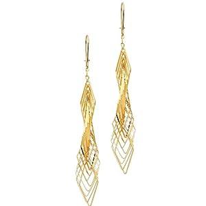14K Yellow Gold Fancy Twisted Dangle Hanging Earrings for Women