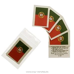 Portugal Tattoo Fahne 5er Fan Set - EM Fanartikel 2016 - Portugal Flag