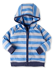 Cotton Rich Hooded Striped Jacket