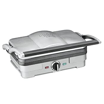 It's the hardest working kitchen appliance you've ever seen!  The multipurpose Cuisinart Griddler Compact transforms with just a flip of the reversible plates.  Start with bacon and eggs for breakfast, then a deliciously overstuffed Panini for lunch,...