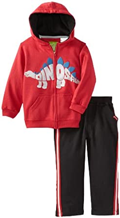 Watch Me Grow! by Sesame Street  Little Boys' 2 Piece Dinosaur Jackethood and Pant, Red, 4T