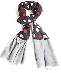 Valentine gift for girlfriend Pashmina 100% Pure Cashmere Wool Woolen Fashion black and grey Heart Print Scarf Scarves for women Stole Shawl Kashmiri Pashmina - FREE SHIPPING