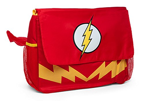 THE FLASH DIAPER BAG Including: Messenger Bag, Cape Shaped Burp Cloth, Changing Pad, and Insulated Bottle Holder