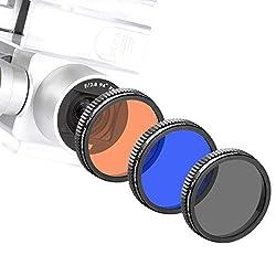 Neewer® for DJI Phantom 4, DJI Phantom 3 Professional and Advanced, Full Color Lens Filter Set 3 Pieces: Full Grey Filter, Full Orange Filter and Full Blue Filter, Not for DJI Phantom 3 Standard