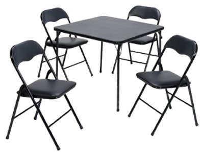 5 Piece Black Portable Card Table, This Table Is Great Furniture for Indoor/outdoor Dining Purposes and Is Comfortable, This Set Comes with 4 Chairs and 1 Table, This Set Makes It Easy to Clean up Spills with the PVC Table Top Feature and Has a Long Lasting Powder Coated Frame to Avoid It From Rusting Overtime