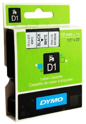 Dymo Schriftband Kassette (45013) für D1, 12 mm x 7 m, schwarz auf weiß