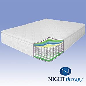 Night therapy 10 pillow top pocketed spring mattress twin home furniture 07 Best deal on twin mattress