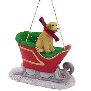 Yellow Lab Sleigh Christmas Ornament for Dog Lovers