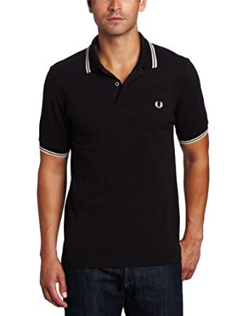 Fred Perry Men's Slim Fit Twin Tipped Polo Shirt, Black/Porcelain/Porcelain, X-Small