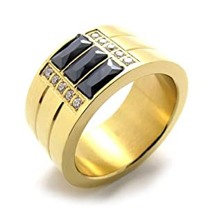 316L Titanium Steel 3 Banded Ring w/ GOLD Colored Finish for Men or Women-SIZE 8