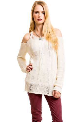 Scattered Knit Longsleeve Blouse in Ivory