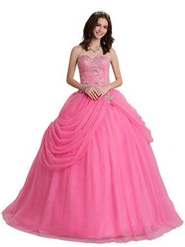Broybuy-Mujer-Tul-Sin-Tirantes-Cristal-Apliques-Ball-Gown-Vestidos-de-Quinceaera