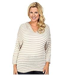Calvin Klein Plus Women's Plus Size Striped Hood Sweater Beige/White Sweater 2X
