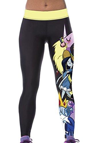 GalaC-Leggings Workout Yoga Leggings stampa Adventure Time Pantaloni Multi Color Multicolor Taglia unica