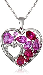 Sterling Silver Created Ruby, Created Pink Sapphire and Created White Sapphire Double Heart Diamond Pendant Necklace, 18