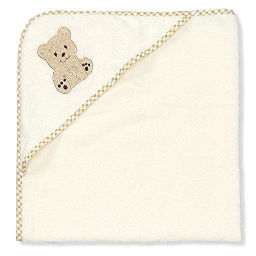 Spasilk 100% Cotton Hooded Terry Bath Towel, Beige Bear