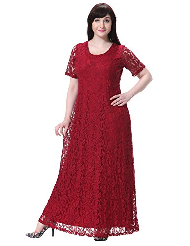 Sue&Joe Women's Plus Size Dress Short Sleeve Full Floral Lace Maxi Evening Gowns, Wine Red, Tagsize9XL=USsize24W
