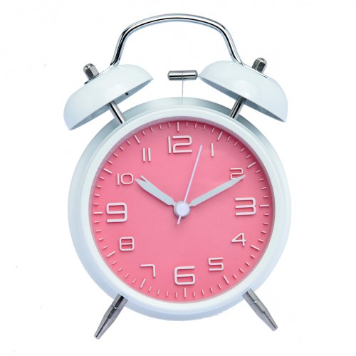 """4"""" Non-Ticking Loud Alarm Classic Design Small Number Twin White Pink Children Kid Bell Alarm Clock With Nightlight (Pink) front-506712"""