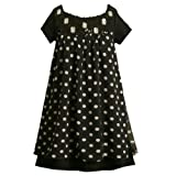 Bonnie Jean Girl PLUS SIZE BLACK WHITE POLKA DOT SEQUIN JEWELED BABYDOLL CHIFFON Special Occasion Flower Girl Holiday Pageant Party Dress-16.5 BNJ-5088X-X85088
