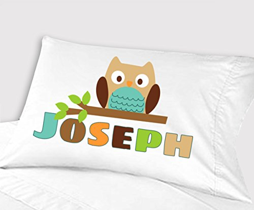 Personalized Owl Pillowcase ( Standard 20 x 26, Teal Owl ) for Kids Pillowcase for Boys Birthday or Christmas Gift (Custom Name Pillowcase compare prices)