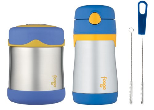 Thermos Foogo Leak-Proof Stainless Steel 10 Ounce Food Jar And Straw Bottle With Straw Cleaner, Blue front-943615