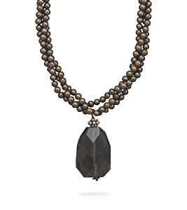 Sterling Silver 16.5 Inch+2 Inch 3-strand Brown Cultured Fw Pearl Necklace Faceted Smoky Quartz Drop