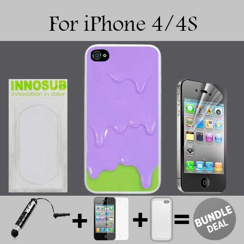 Purple Green Melting ice Cream Custom iPhone 4 Cases/4S Cases-Clear-Plastic,Bundle 3in1 Comes with HD Screen Protector/Universal Stylus Pen by innosub (Iphone 4 Case Melting Ice Cream compare prices)