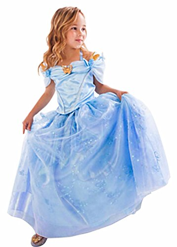 [Hallowkid Girls Kids Children Cinderella Fancy Princess Palace Cosplay Dress (150cm/7T-8T, Blue)] (Cinderella Dress Up)