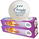 Champion Sports 3 Star White Table Tennis Balls One Dozen Ping Pong Balls [2 boxes of 6 balls each]