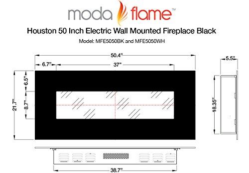 Moda Flame Houston 50 Electric Wall Mounted Fireplace In White Home Garden Fireplaces