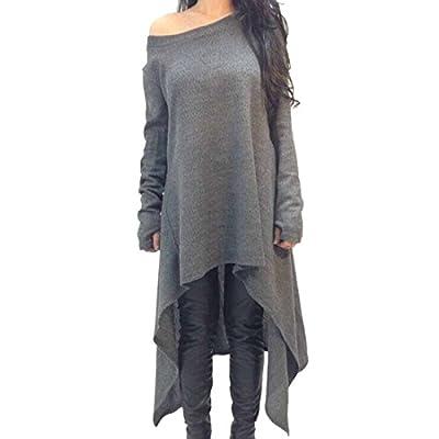 Women Cotton Long Sleeve Off Shoulder Irregular Casual T-Shirt Dress Blouse Tops