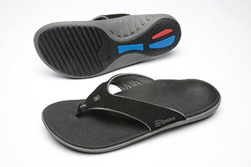 Spenco Polysorb Total Support Yumi Sandals, Black/Pewter, Men's 13