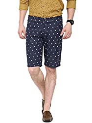 Showoff Men's Navy Blue Slim Fit Printed Casual Chino Shorts